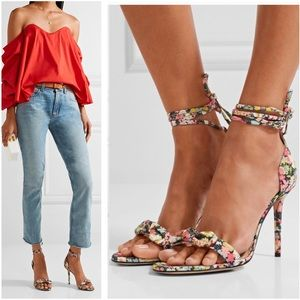 Charlotte Olympia Shelley Bow Floral Sandal Heel